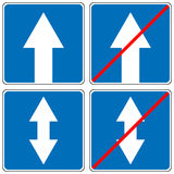 Ahead Only, one way traffic sign, Drive Straight Arrow Traffic Vector illustrations Royalty Free Stock Photo