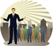 Ahead of the Rest. Business man standing out in front of silhouette people and radiant city skyline... also could be a political leader or sales person vector illustration