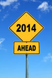 2014 ahead road sign. Yellow cautionary road sign 2014 ahead Stock Images