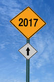 2017 ahead roadsign Royalty Free Stock Images