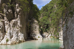 Aheron river and gorge in Greece stock photo