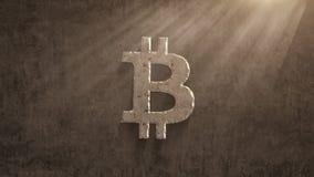 Aherrumbrando en un cierto plazo bitcoin en un fondo del grunge, 4K