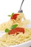 Ahh Spaghetti. Spaghetti noodles on fork white background Royalty Free Stock Photos