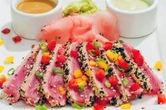 ahi horyzontalnych kumberlandów osmalony tuńczyk Obrazy Royalty Free