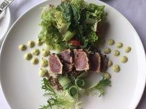 Ahi passado ligeiramente Tuna Salad com um toque do creme do abacate imagem de stock royalty free