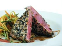 Ahi tuna. With black and white sesame crust and Asian slaw Stock Image