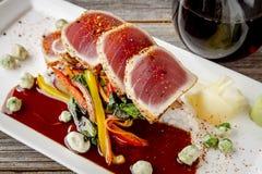Ahi Tuna on Jasmine Rice with Bok Choy Stir Fry Stock Image