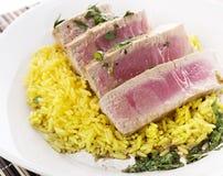 Ahi Tuna Steak With Rice Stock Photo
