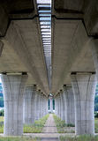 Ahigh way bridge. A concrete columns Royalty Free Stock Photos