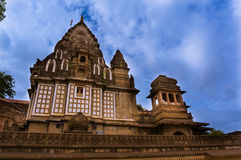 Ahilya fort in Maheshwar set against monsoon clouds Royalty Free Stock Photo