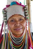 AHKA Hill Tribe Woman, Northern Thailand. Woman from the Akha tribe with traditional headgear, Chiang Rai, Thailand, Asia royalty free stock photos