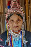 AHKA Hill Tribe Woman, Northern Thailand. Woman from the Akha tribe with traditional headgear, Chiang Rai, Thailand, Asia royalty free stock photography