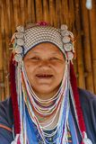AHKA Hill Tribe Woman, Northern Thailand. Woman from the Akha tribe with traditional headgear, Chiang Rai, Thailand, Asia royalty free stock image