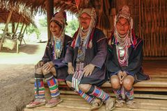 AHKA Hill Tribe Woman, Northern Thailand. Women from the Akha tribe with traditional headgear, Chiang Rai, Thailand, Asia royalty free stock photos