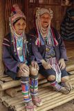 AHKA Hill Tribe Woman, Northern Thailand. Women from the Akha tribe with traditional headgear, Chiang Rai, Thailand, Asia stock photos