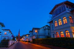 Street view in Ahlbeck, Usedom, Germany, at night. Ahlbeck, Germany - October 22, 2017: street in Ahlbeck at night. Ahlbeck is a Baltic Sea resort, that has Royalty Free Stock Photography