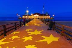Ahlbeck molo przy morza bałtyckiego wybrzeżem przy nocą Zdjęcie Royalty Free