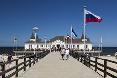 Ahlbeck przy morzem bałtyckim na Usedom wyspie, Mecklenburg- Vorpommern, Niemcy Zdjęcie Stock