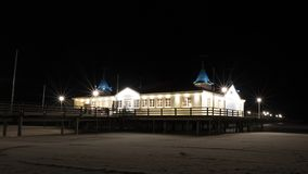 Ahlbeck sea bridge, Germany. Famous pier of Ahlbeck, Germany, at night. Usedom Island, Baltic Sea Coast, Mecklenburg-West Pomerania, Germany stock photography