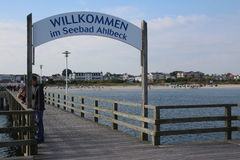 Ahlbeck,Usedom island. Historic Pier of Ahlbeck on Usedom island,Baltic Sea,Mecklenburg, Western Pomerania,Germany. Sign saying welcome Royalty Free Stock Images