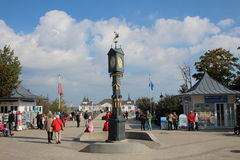 Ahlbeck,Usedom island. Famous square with clock by the beach of Ahlbeck on Usedom island,Baltic Sea,Germany. Typical white architecture famous for the touristic Royalty Free Stock Images