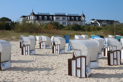 Ahlbeck,Usedom island. Beach of Ahlbeck on Usedom island,Baltic Sea,Mecklenburg, Western Pomerania,Germany. Famous Hotel Ahlbecker Hof in the background. Sign stock photo