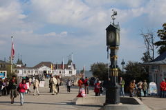 Ahlbeck,Usedom island. Famous square with clock by the beach of Ahlbeck on Usedom island,Baltic Sea,Germany. Typical white architecture famous for the touristic stock image