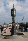 Ahlbeck,Usedom island. Famous square with clock by the beach of Ahlbeck on Usedom island,Baltic Sea,Germany. Typical white architecture famous for the touristic Royalty Free Stock Image