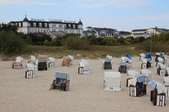 Ahlbeck,usedom island,Baltic Sea,Germany. Beach with beach chairs and famous hotels at tzhe coast of Ahlbeck on Usedom island,Baltic Sea,Mecklenburg, Western stock photography