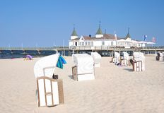 Ahlbeck,usedom island,Baltic Sea,Germany. Beach and historic Pier of Ahlbeck on usedom island,baltic sea,mecklenburg-western pomerania,germany Royalty Free Stock Image
