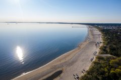 Ahlbeck Usedom, natur, bakgrund, sommar, hav, överkant, surr, vatten, folk, blått som är härligt, ferie, antenn, sikt, landsk fotografering för bildbyråer