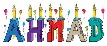 Ahmad male first name bitten colorful 3d lettering birthday cake with candles and balloons.  Royalty Free Stock Photo
