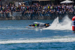 Ahmed Al Hameli (ARE). PORTO, PORTUGAL - AUGUST 1, 2015: Ahmed Al Hameli (ARE) during the U.I.M. F1H2O World Championship in Porto, Portugal stock photo