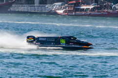 Ahmed Al Hameli (ARE). PORTO, PORTUGAL - AUGUST 1, 2015: Ahmed Al Hameli (ARE) during the U.I.M. F1H2O World Championship in Porto, Portugal royalty free stock images