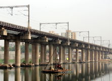 Ahmedabad City`s Bridge Sabarmati. Beautiful Reflection Sabarmati`s Iron Bridge - Ahmedabad, Gujarat, India Stock Photos