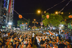 AHMEDABAD, GUJARAT/INDIA - 16th MAY FRIDAY 2014 : Party workers celebrating the win of Narendra Modi in Election, at party office. Stock Images