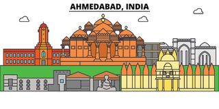 Ahmedabad, India, azjata Miasto linia horyzontu, architektura, budynki, ulicy, sylwetka, krajobraz, panorama, punkty zwrotni ilustracja wektor