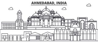 Ahmedabad, ligne illustration d'architecture d'Inde d'horizon Paysage urbain linéaire de vecteur avec les points de repère célèbr Illustration Stock