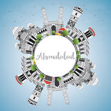 Ahmedabad Skyline with Gray Buildings, Blue Sky and Copy Space. Royalty Free Stock Photos