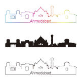 Ahmedabad skyline linear style with rainbow Royalty Free Stock Images