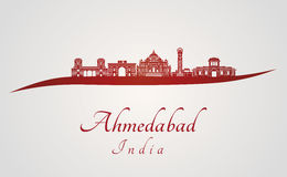 Ahmedabad skyline in red Royalty Free Stock Photography