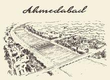 Ahmedabad skyline vector illustration drawn sketch Stock Photos