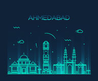 Ahmedabad skyline vector illustration linear Royalty Free Stock Image