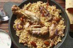 Ahmedi Biryani - Indiański naczynie zawiera mięso, ryba lub warzyw, Zdjęcie Stock