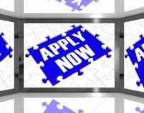 Ahora apliqúese en la pantalla que muestra a Job Recruitment Foto de archivo
