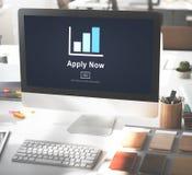 Ahora aplique el reclutamiento que contrata a Job Employment Concept Fotografía de archivo