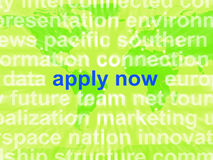 Ahora aplique el trabajo Job Applications de las demostraciones de la nube de la palabra Fotos de archivo libres de regalías