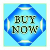 Ahora compre el botón azul Foto de archivo