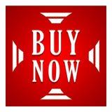 Ahora compre el botón azul Foto de archivo libre de regalías