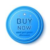 Ahora compre, insignia de la promoción Imagen de archivo libre de regalías